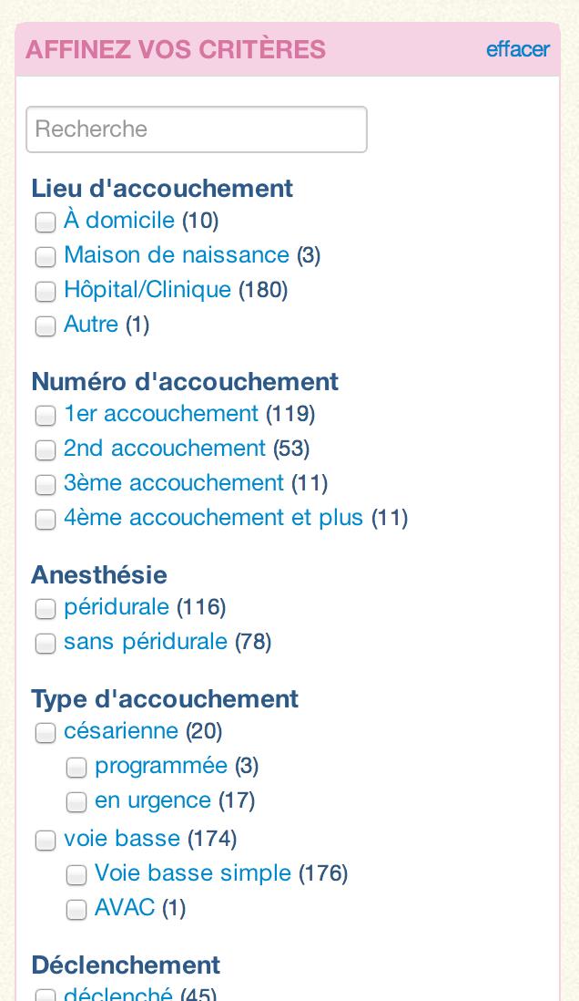 Recherche de récits d'accouchement par critères telles que périduale, césarienne, déclenché
